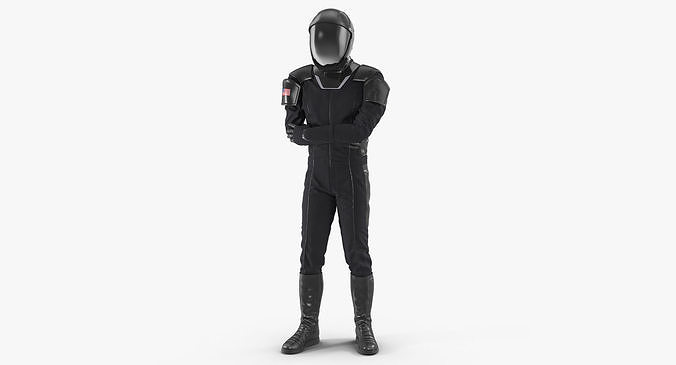 Sci Fi Astronaut Suit Black Rigged