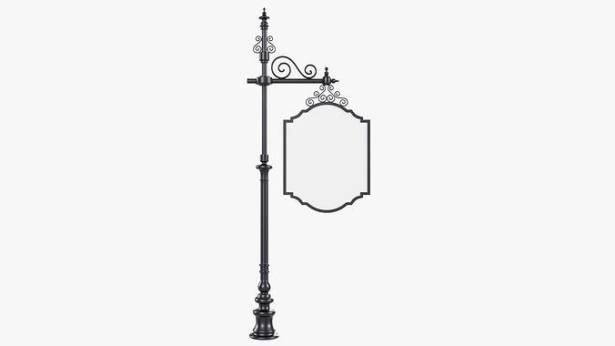 Forged column with hanging sign 01