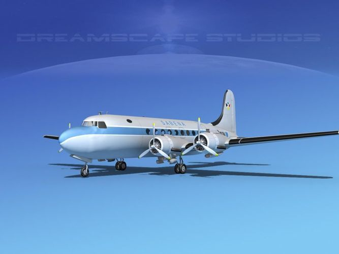 douglas dc-4 sabena airlines 1 3d model rigged max 3ds lwo lw lws dxf dae dwg 1