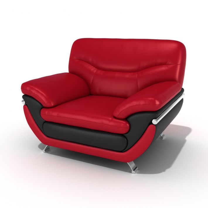 3D model Red Leather Lounge Chair | CGTrader