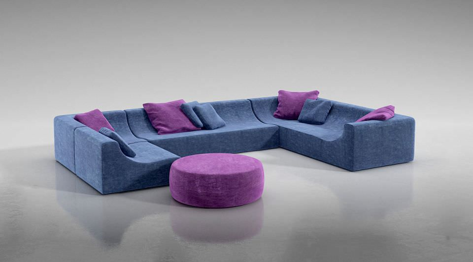 Blue And Lavender Furniture Set Couch Table 3d Model Obj 1