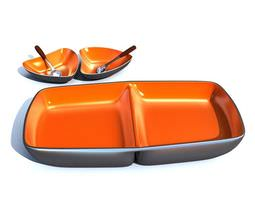 Orange Plates And Bowls 3D