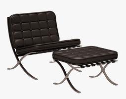 Barcelona Chair and Ottoman MVD ROHE 3D Model