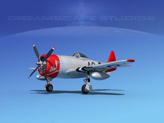 republic p-47d thunderbolt v02 3d model animated max obj mtl 3ds lwo lw lws dxf dae 1