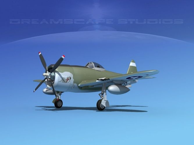 republic p-47d thunderbolt v03 3d model animated max obj mtl 3ds lwo lw lws dxf dae 1
