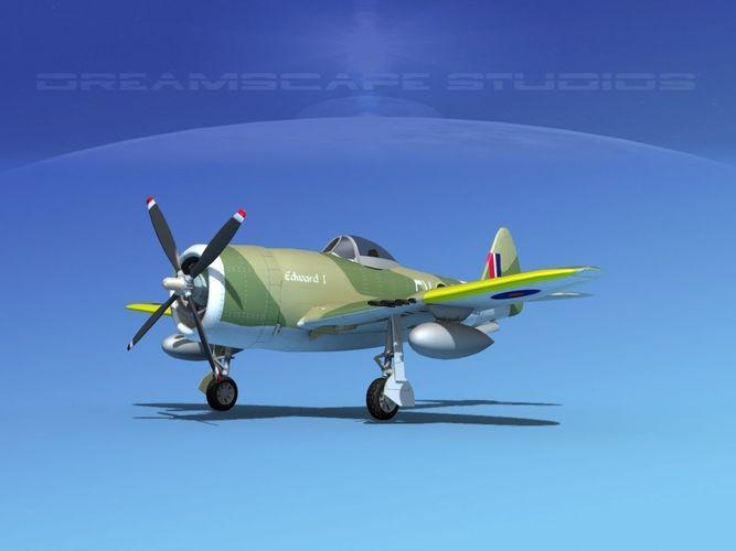 republic p-47d thunderbolt v10 3d model animated max obj mtl 3ds lwo lw lws dxf dae 1