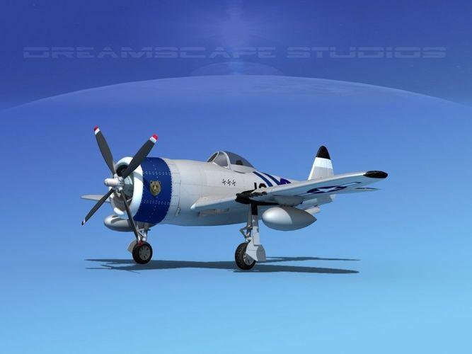 republic p-47d thunderbolt v16 3d model animated max obj mtl 3ds lwo lw lws dxf dae 1