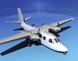 aero commander 560 bare metal animated 3d