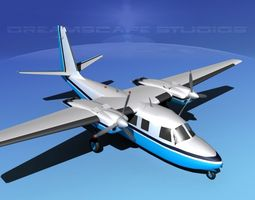 3d rockwell aero commander 560 v03 animated