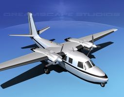 3d animated rockwell aero commander 560 v04