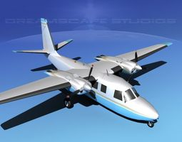 animated rockwell aero commander 560 v06 3d model