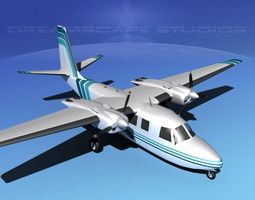 animated rockwell aero commander 560 v11 3d model