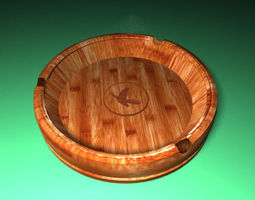 Wooden - ashtray v1 3D asset