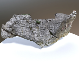 game-ready 3d model PBR scanned white rock wall