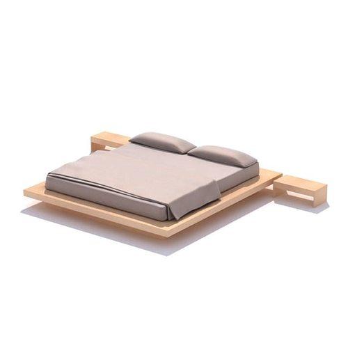 Wooden Platform Bed 3d Cgtrader