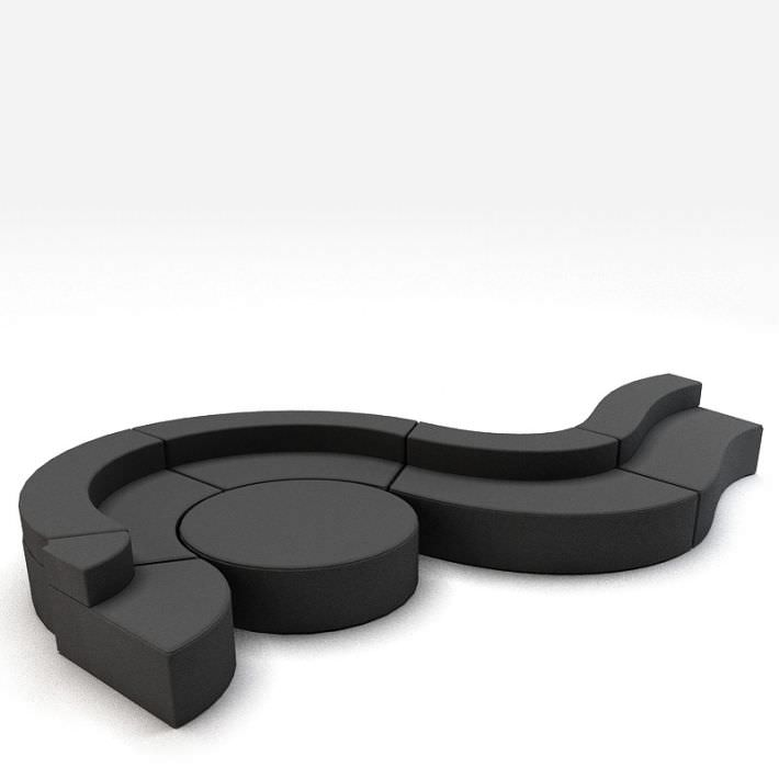 Curved Sofa With Ottoman 3d Model 1