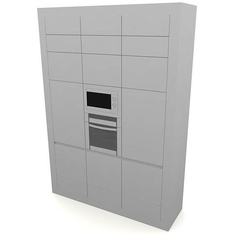 modular kitchen furniture stove microwave 3d model 1