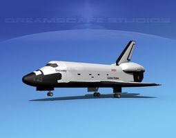 rigged sts shuttle discovery landing mp 2-3  3d model