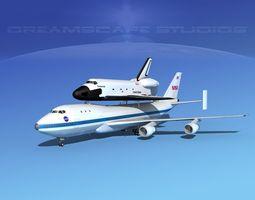 rigged space shuttle endeavour transport lp 1-2 747 3d model