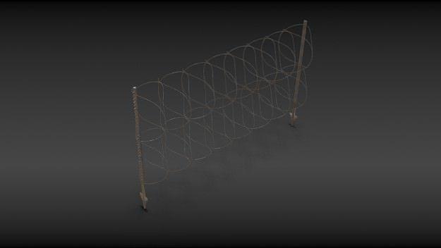 razorwire fence 3d model obj mtl 1