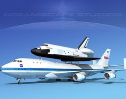 3d space shuttle endeavour transport mp 2-2 747   rigged