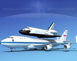 space shuttle enterprise transport  mp 2-2 747  3d rigged