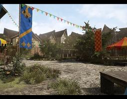 VR / AR ready medieval village 3d asset