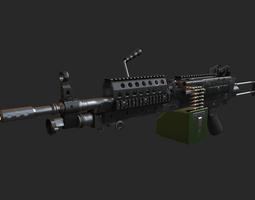 m249 machine gun low-poly 3d asset