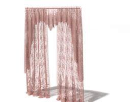 3D Pink Long Curtains