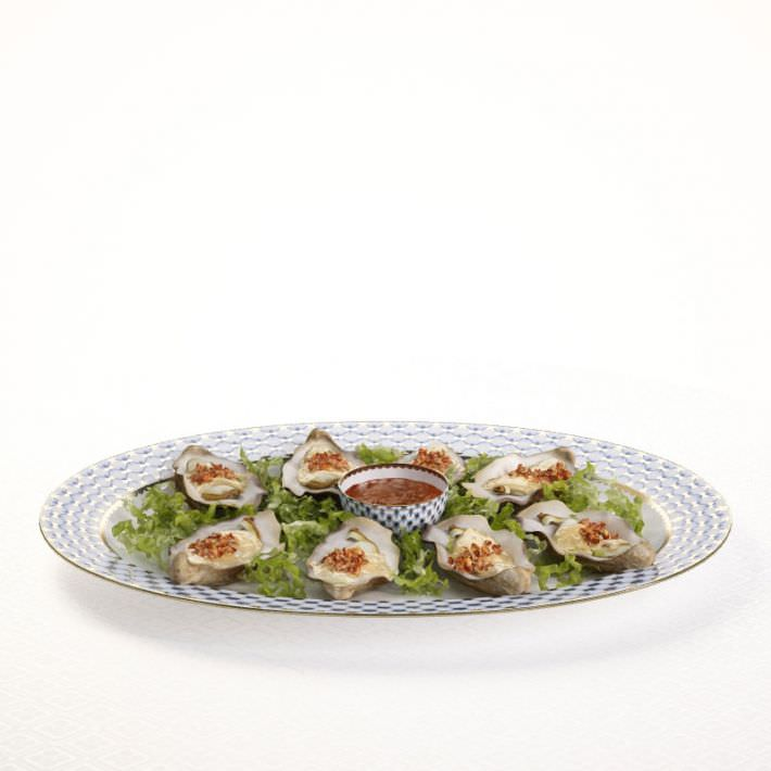 Oysters In Half Shell On Porcelain Plate