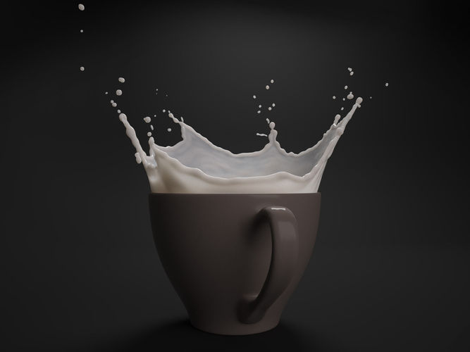 milk splash in cup 3d model obj blend mtl 1