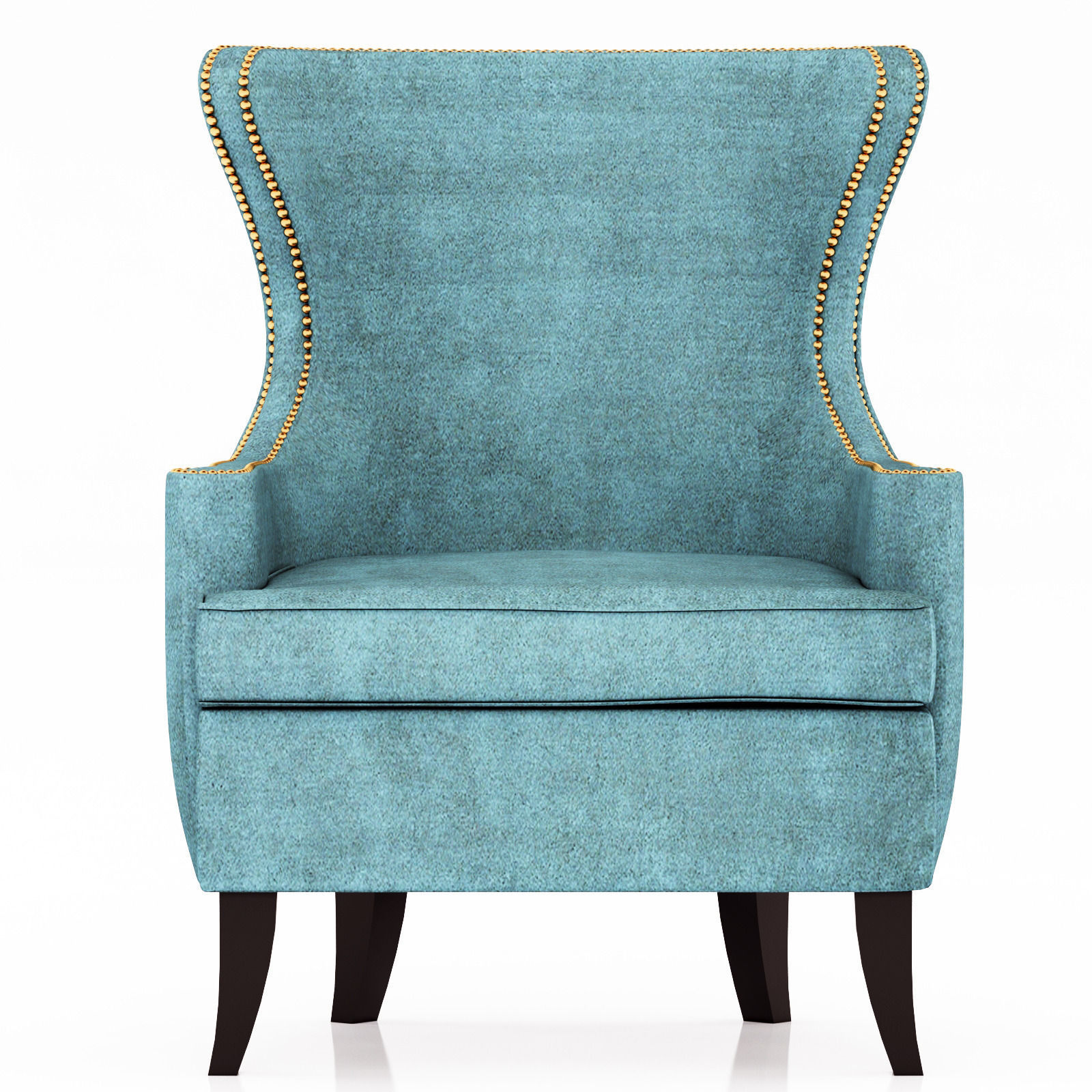 Teal Wingback Chair -  pacific blue elliott wingback chair 3d model max obj fbx mtl 5