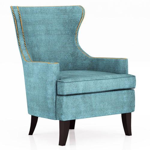 Exceptionnel Pacific Blue Elliott Wingback Chair 3D Model