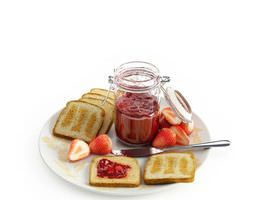 plate of toast with strawberry preserves 3d