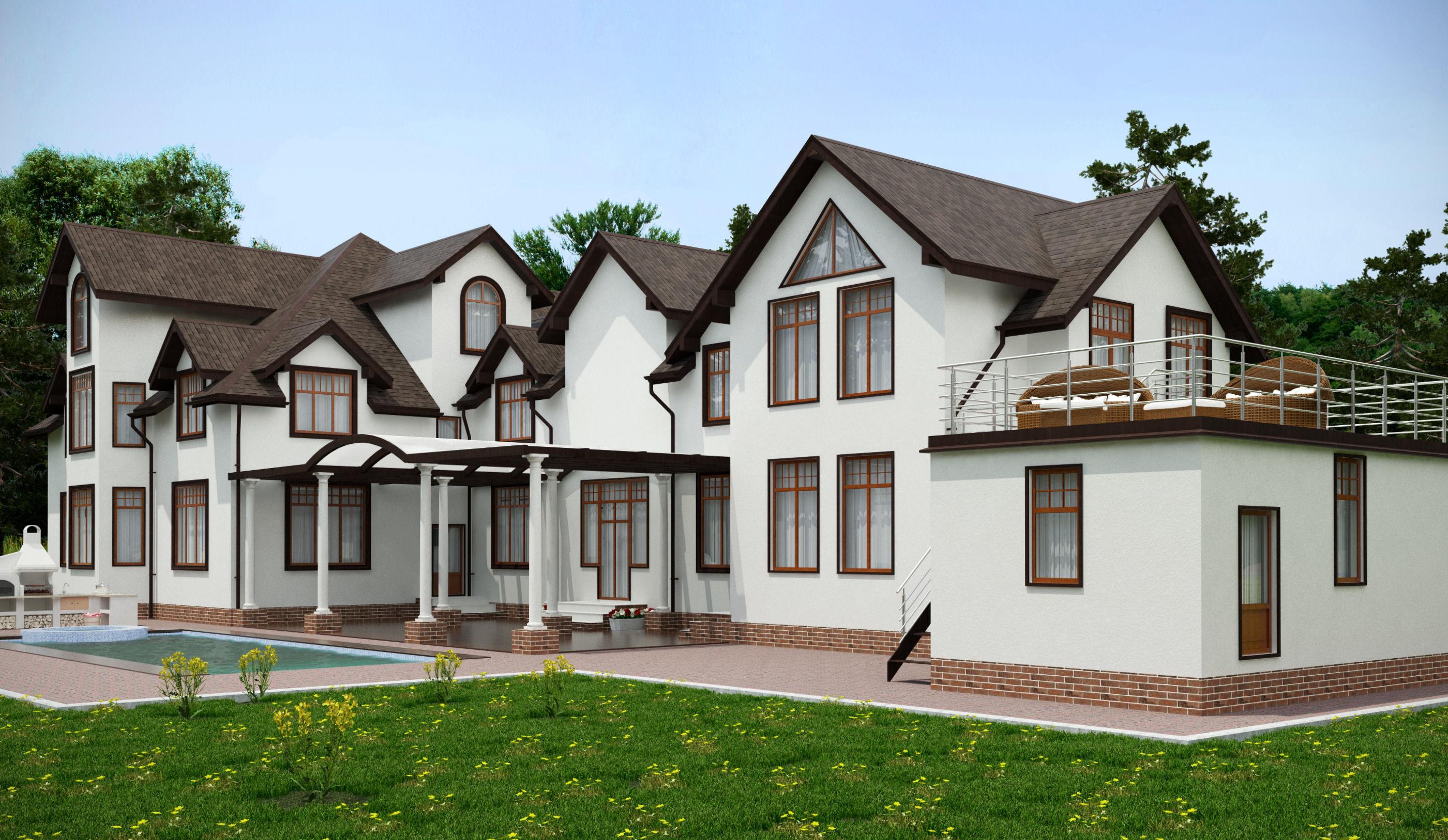 large modern cottage 3D Model M OBJ 3DS FB ML Grader.com - ^