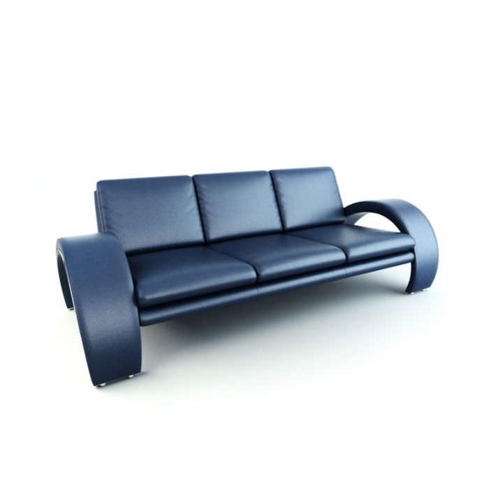 Contemporary sofa bed blue 3d model obj for Sofa bed 3d model