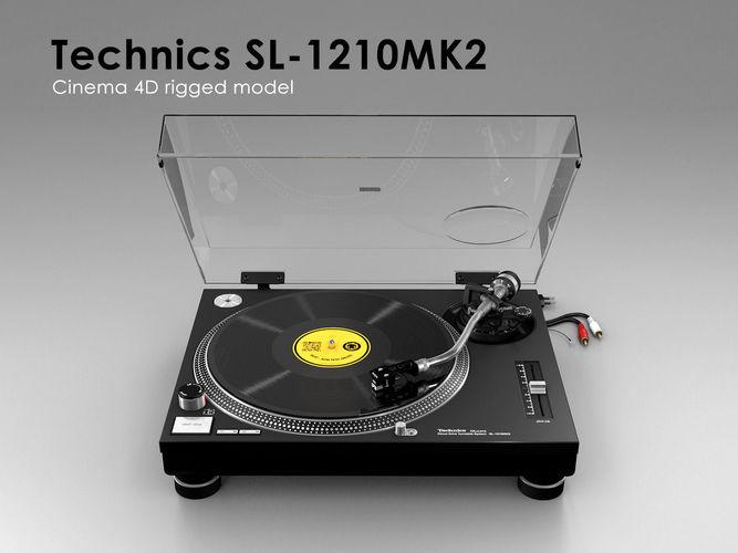 technics sl-1210mk2 - rigged 3d model rigged animated obj 3ds fbx c4d dxf stl 1