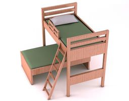 3d wooden bunk bed