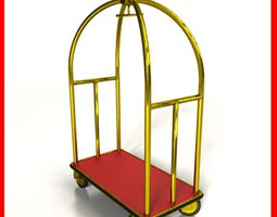 Hotel Luggage Cart High Detail 3D Model