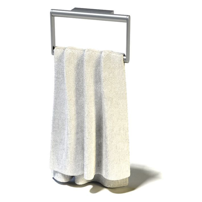 hanging white towel. White Towel Hanging On A Rack 3d Model 1 X