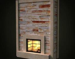 3d model slim brick fireplace