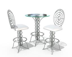 3d model modern bistro table set