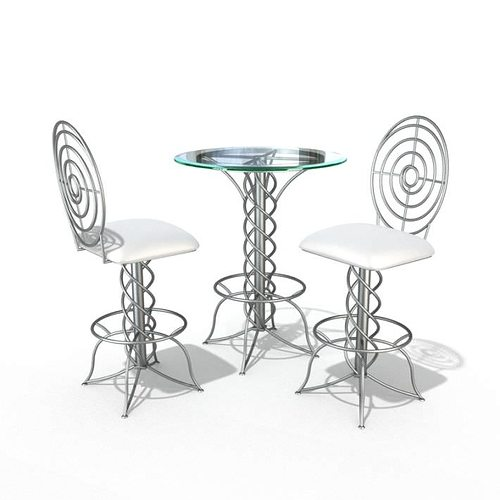 Delicieux Modern Bistro Table Set 3d Model 1