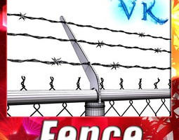 Chainlink fence Barbed wire High detail 3D