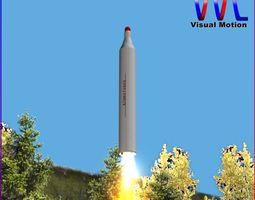 bm-25 musudan ballitic missile 3d