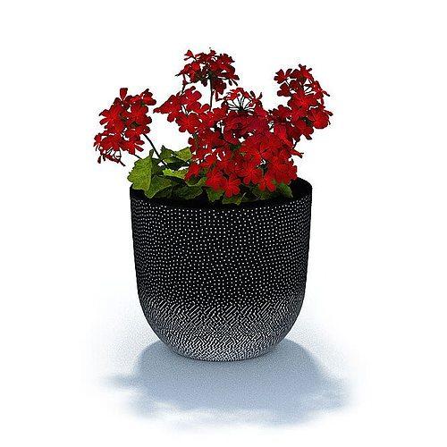 red leafy flower in studded pot 3d model 3ds 1