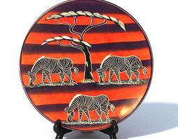 African Decorative Plate orange 3D