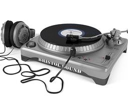silver and black turntable with headphones 3d model