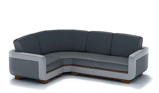Modern L Shaped Black Leather Couch Model 1
