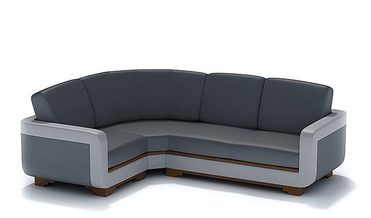 Modern L Shaped Black Leather Couch | 3D model